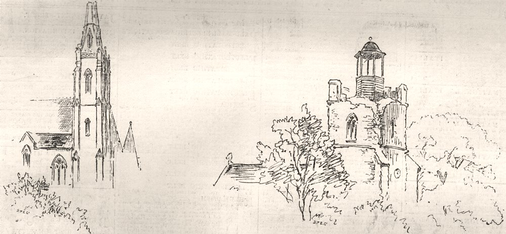 Associate Product Colchester Earthquake. Church spire; Wivenhoe church tower. Essex, print, 1884