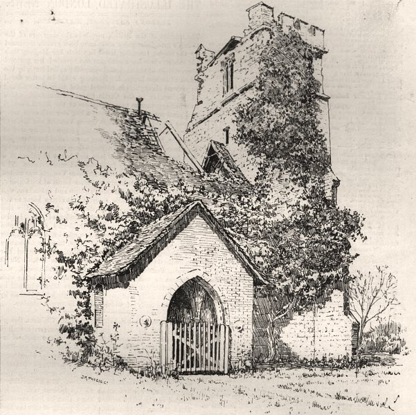 Associate Product Langenhoe Church, with the ruined tower and roof. Essex, antique print, 1884