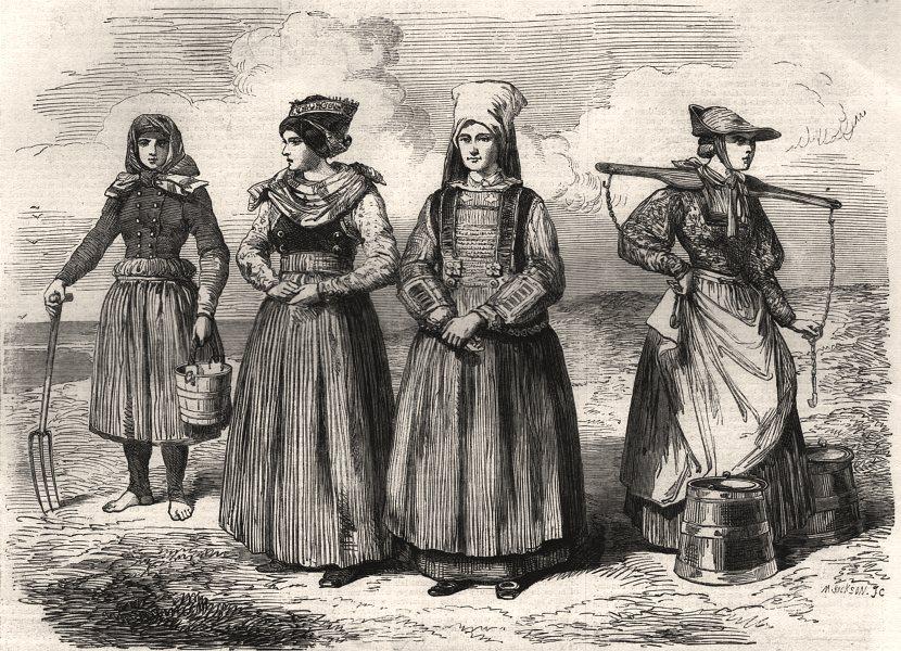 Associate Product Schleswig ladies costumes Blavand's Bay Fohr Ostenfellt Dannevirke, print, 1864