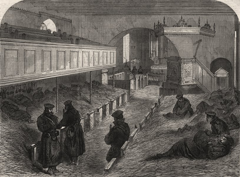 Associate Product West Dybbol Church, used by Prussian soldiers as a dormitory. Denmark, 1864