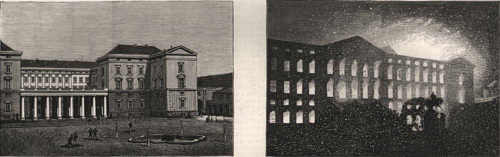 Associate Product Burning of Christiansborg Castle, Copenhagen. Castle wing. Fire. Denmark, 1884