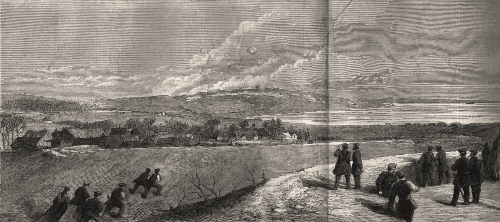 Associate Product The war in Denmark: view of Dybbol during the Prussian bombardment, print, 1864