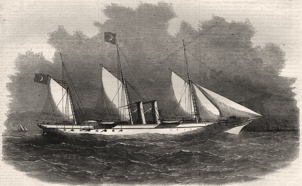 """Associate Product The Pacha of Egypt's steam-yacht """"Said"""", antique print, 1858"""