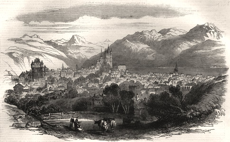 Associate Product Lausanne, from the English Church. Switzerland, antique print, 1855