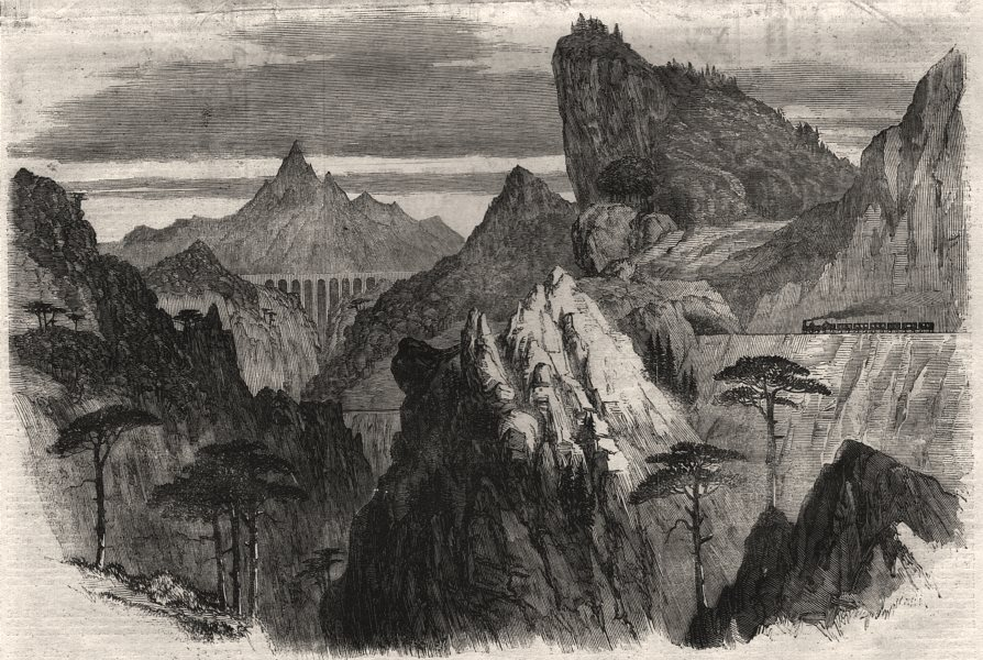 Associate Product The Great Semmering Railway. The Weinzettelwand tunnel. Austria, old print, 1860