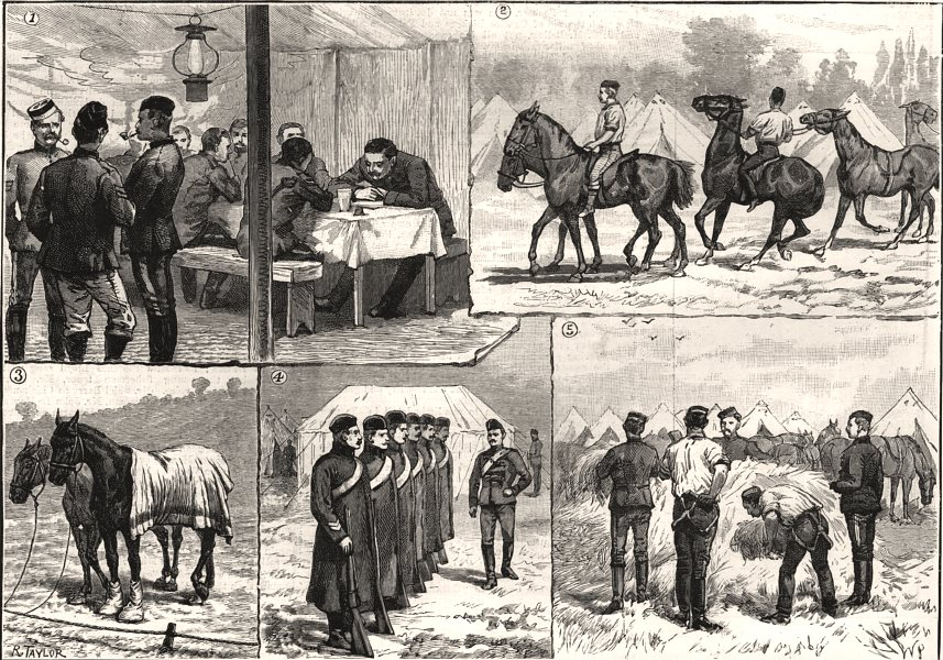 Associate Product Autumn cavalry manoeuvres. Writing orders. Watering horses. Berkshire, 1890