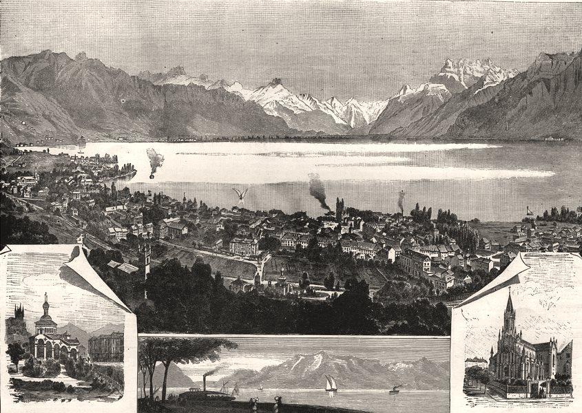 Vevey on Lake Geneva; Russian Church; Promenade du Rivage; Catholic Church, 1885