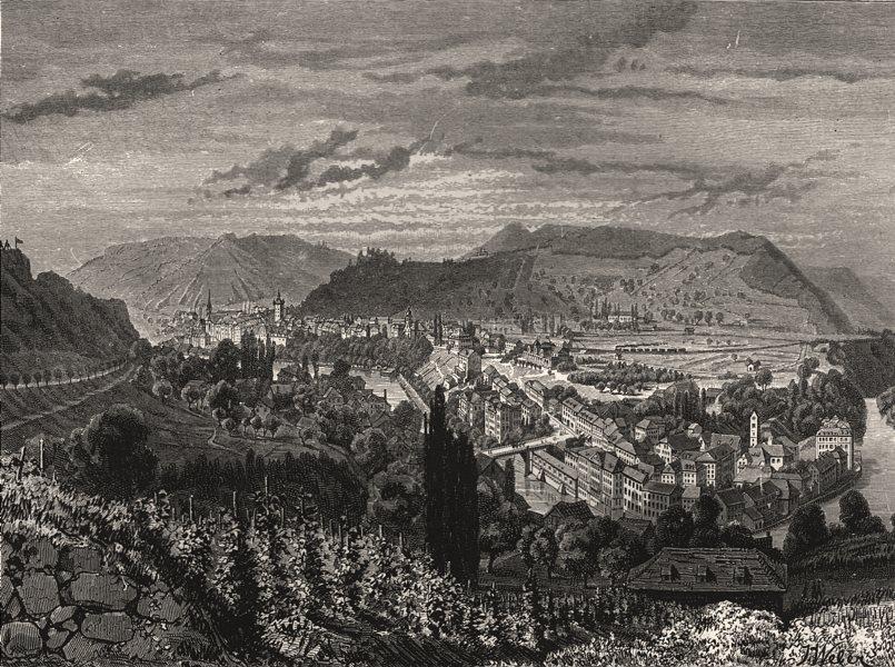 Associate Product Baden, in Switzerland, antique print, 1886