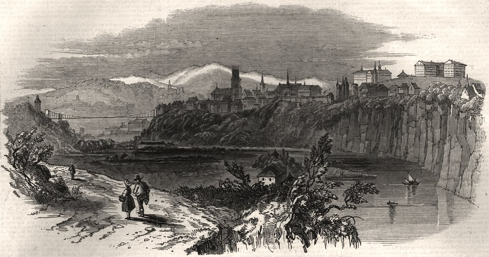 Associate Product Fribourg panorama. Jesuits' college & the town defences. Switzerland, 1847