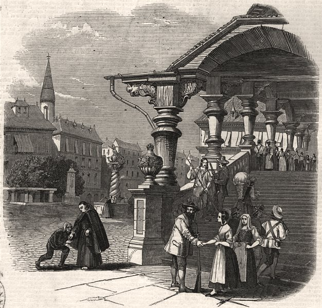 Associate Product Fribourg - from the steps of the Rathaus. Switzerland, antique print, 1847