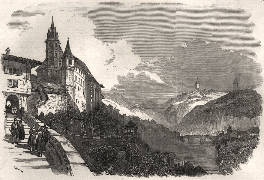 Associate Product Fribourg - from an original sketch. Switzerland, antique print, 1847