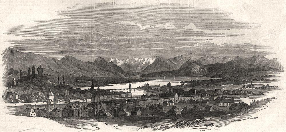 Associate Product Panorama of Lucerne. Switzerland, antique print, 1847