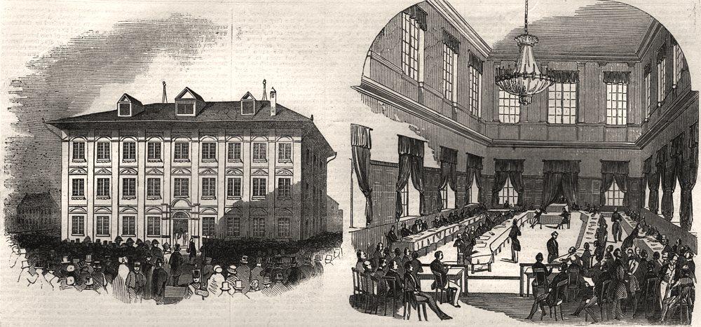 Associate Product The town hall, Zurich; the Swiss Diet, at Zurich. Switzerland, old print, 1845