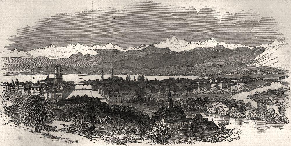 Associate Product Panorama of Zurich. Switzerland, antique print, 1847