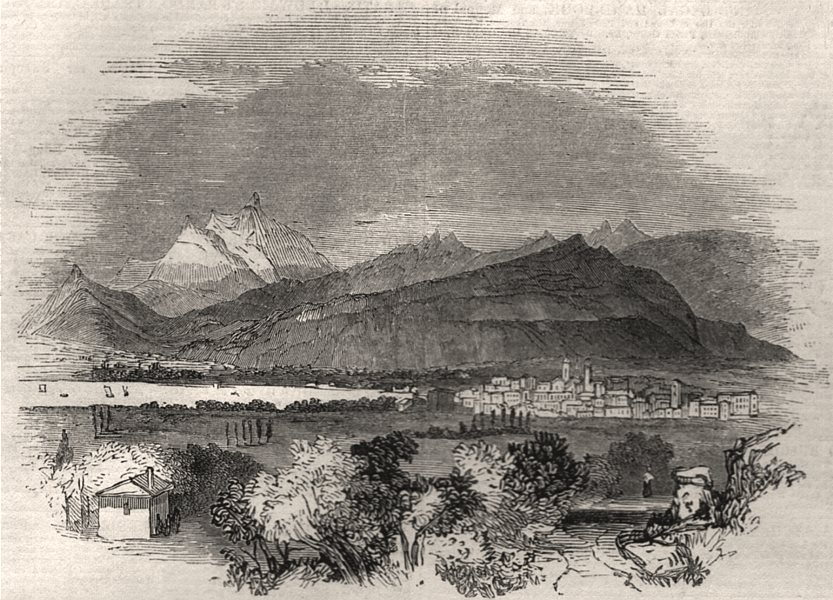 Associate Product View of Geneva. Switzerland, antique print, 1843