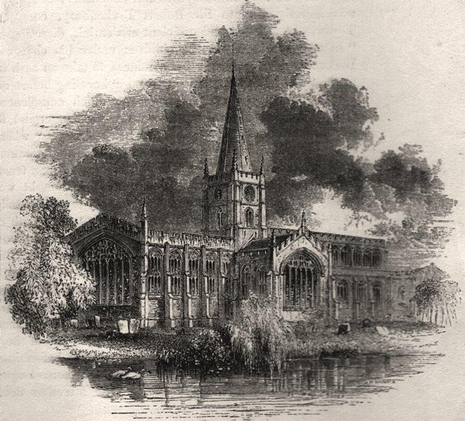 Associate Product 1367 - Stratford church. Warwickshire, antique print, 1845