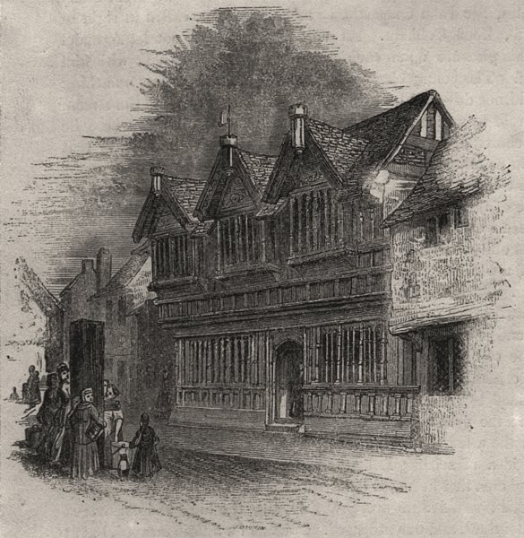 Associate Product 1366 - Old timber houses at Coventry. Warwickshire. SMALL, antique print, 1845