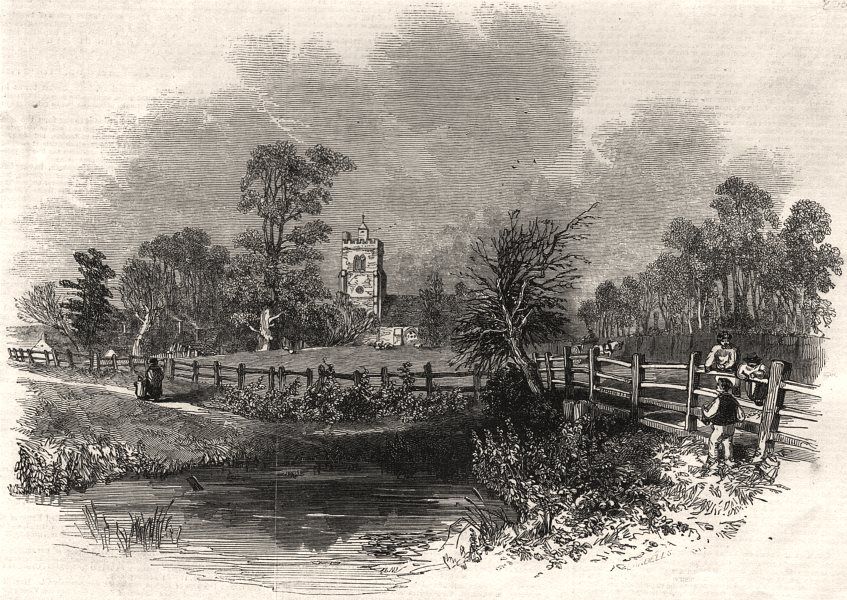 Associate Product Hatfield Church, from the London Road. Hertfordshire, antique print, 1846