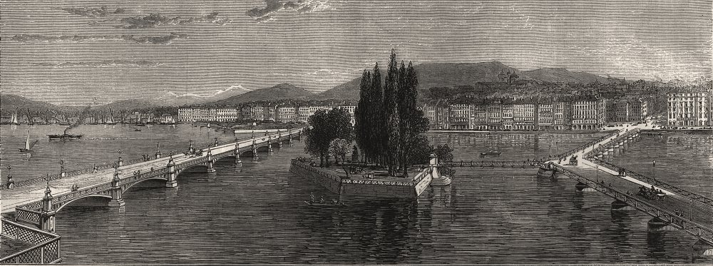 Associate Product View of Geneva, with Mont Blanc in the distance. Switzerland, old print, 1872