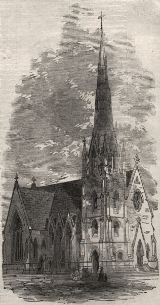 Associate Product St. Stephen's Church, South Lambeth. London, antique print, 1861