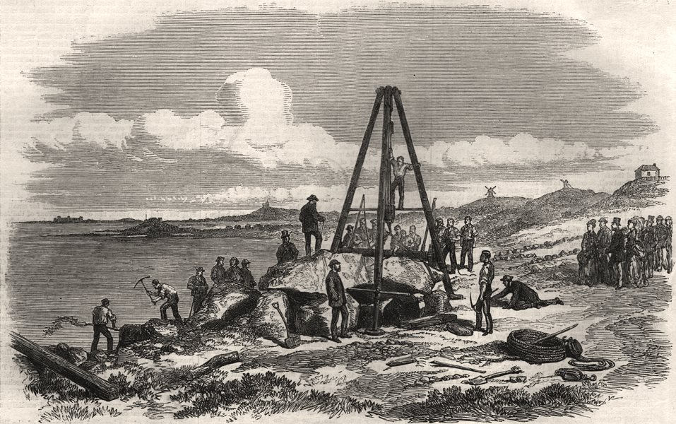 Associate Product Raising the capstone of Le Trepied cromlech, Guernsey. Channel Islands, 1870