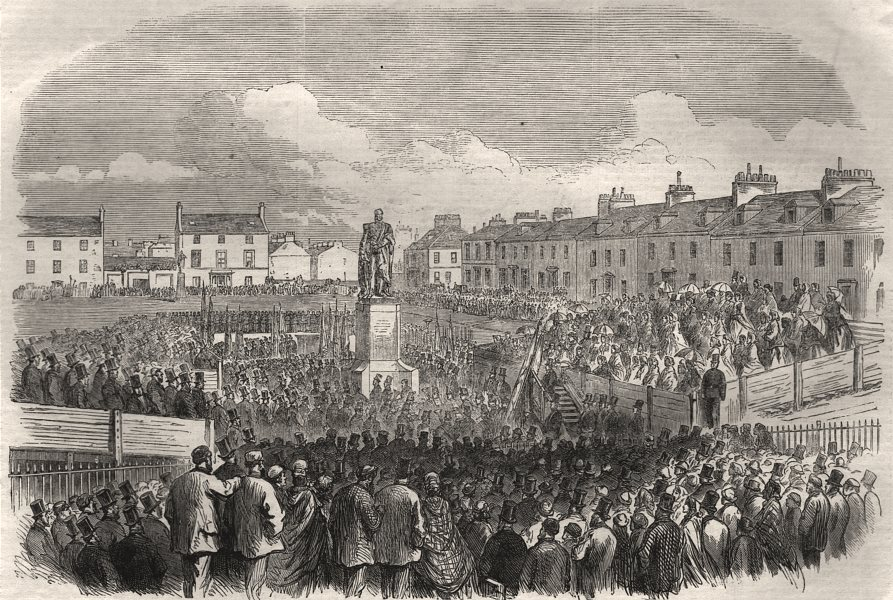 Associate Product Unveiling the statue of the late Lord Eglinton at Ayr. Scotland, old print, 1865