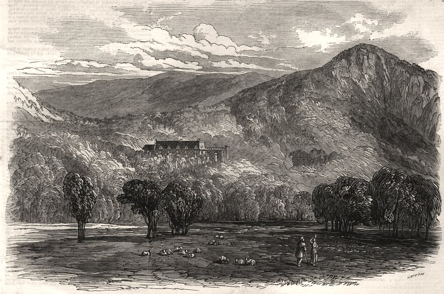 Associate Product Corriemulzie, from the north side of the Dee. Scotland, antique print, 1848