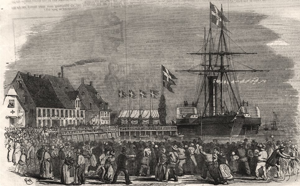 Associate Product Arrival of the King of Denmark at Flensburg. Germany, antique print, 1854