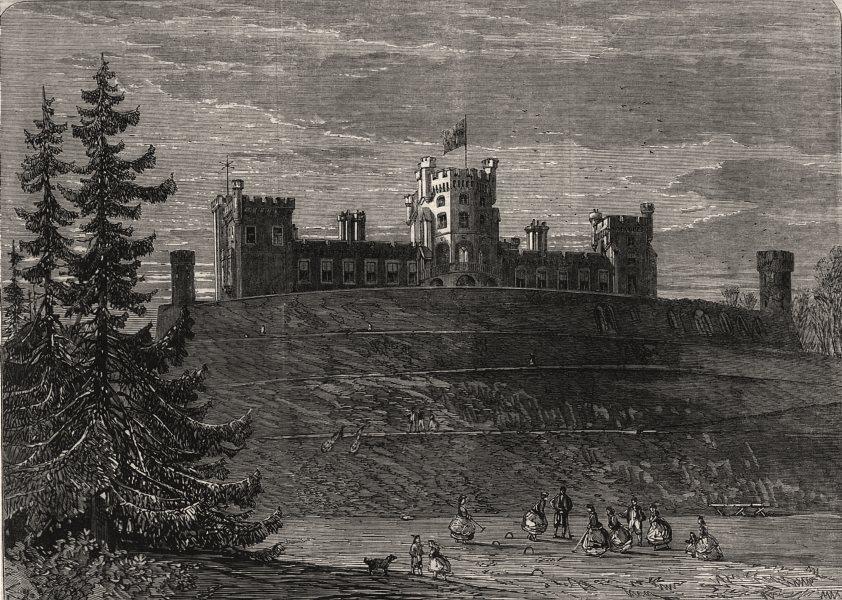 Associate Product North east front of Belvoir Castle. Leicestershire, antique print, 1866