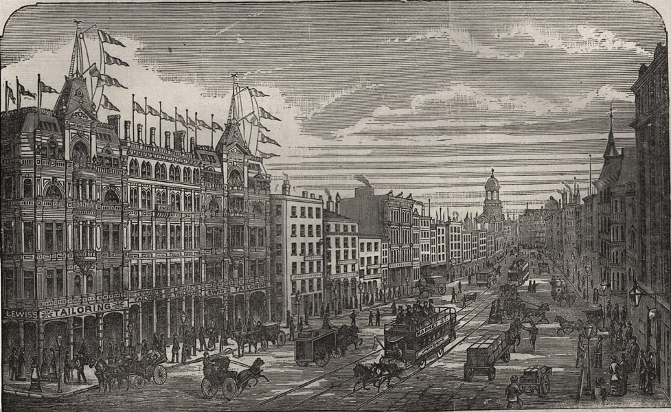 Associate Product View of Market Street, Manchester, showing Lewis's, antique print, 1883