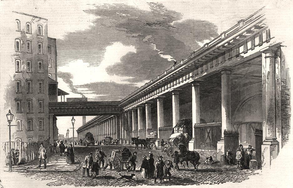 Associate Product New iron railway viaduct, at Manchester. Lancashire, antique print, 1851