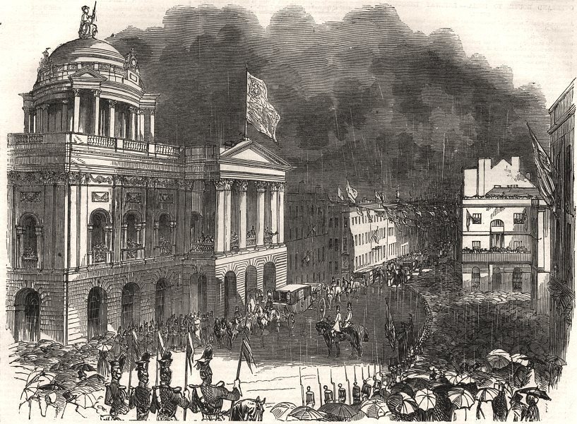 Associate Product Arrival of Her Majesty at the town hall, Liverpool, antique print, 1881