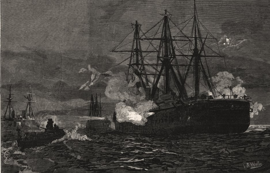 Associate Product Plymouth Sound naval manoeuvres torpedo attack on Admiral Tryon's squadron, 1890