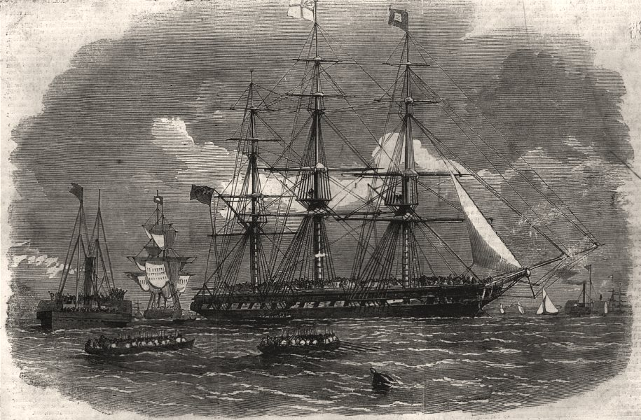 Associate Product Departure from Gravesend of troops for India. Kent, antique print, 1858