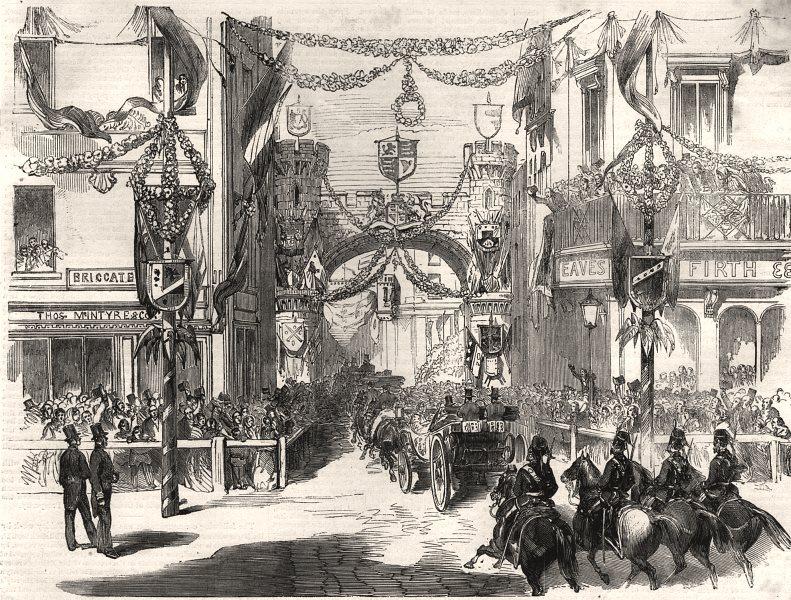 Associate Product Queen Victoria passing through Boar Lane, Leeds. Yorkshire, antique print, 1858