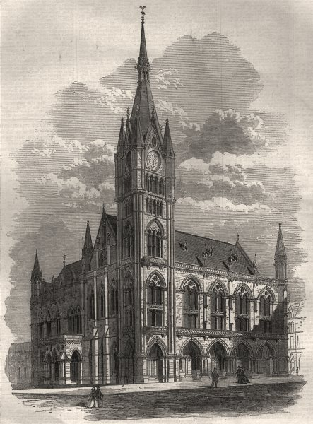 Associate Product The new town hall of Preston, Lancashire, antique print, 1867
