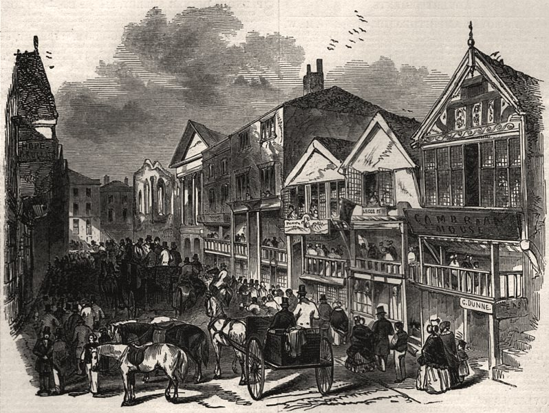 Associate Product Northgate Street, Chester - The Cup Day. Cheshire, antique print, 1846