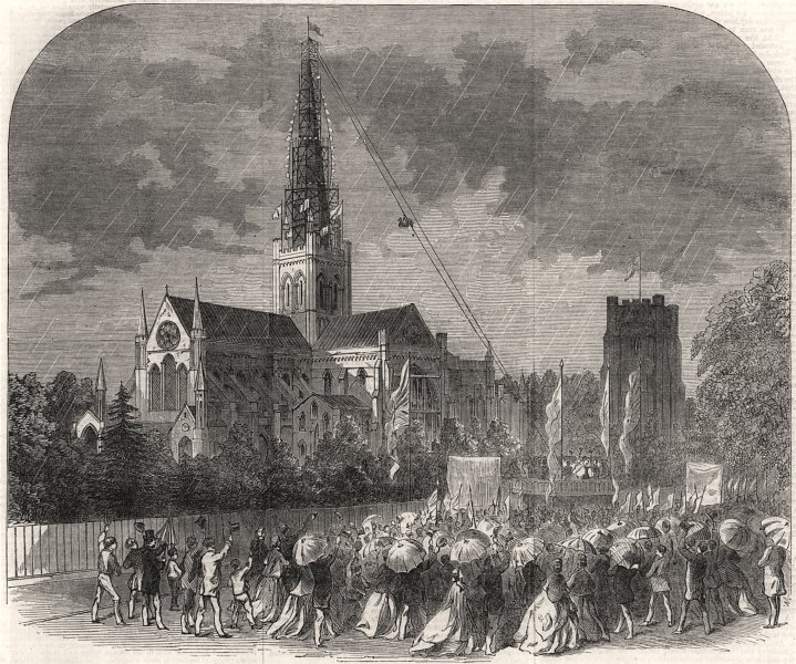 Associate Product Capping the new spire of Chichester Cathedral. Sussex, antique print, 1866