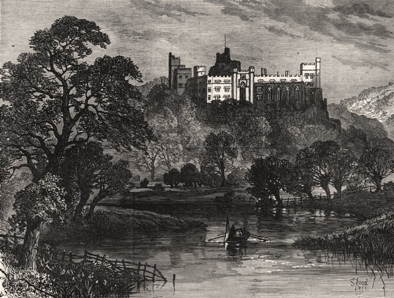 Associate Product Arundel Castle, Sussex, the seat of the Duke Of Norfolk, antique print, 1877