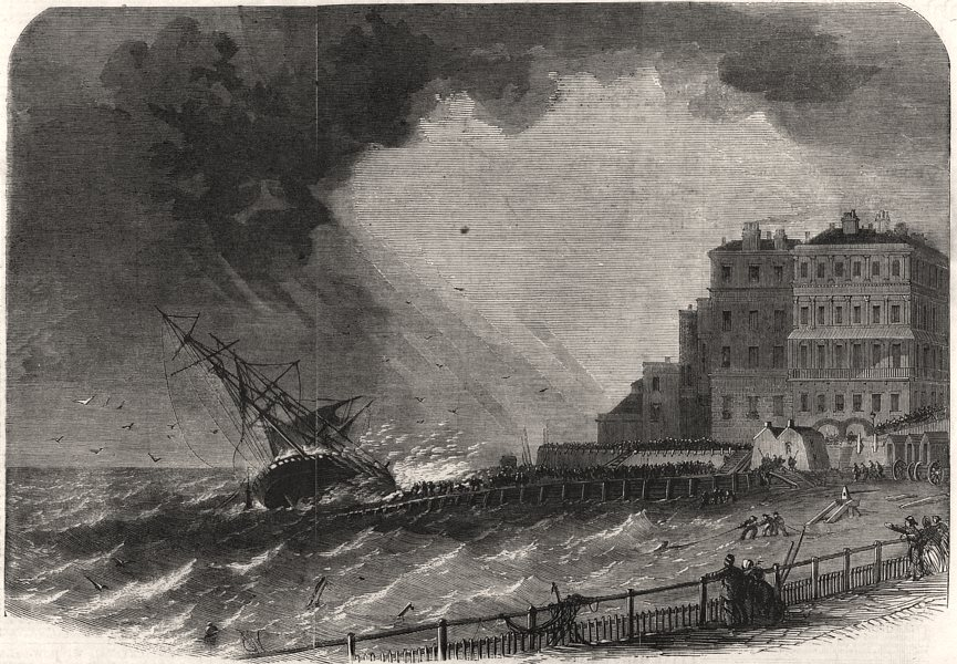 "Associate Product Wreck of the "" Atlantique, "" of Nantes, at Brighton. Sussex, antique print, 1860"