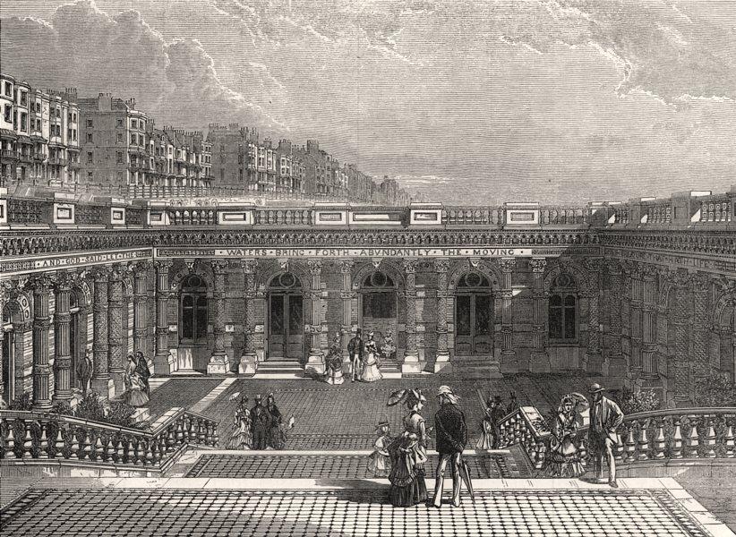Associate Product Entrance court of the Brighton Aquarium. Sussex, antique print, 1872