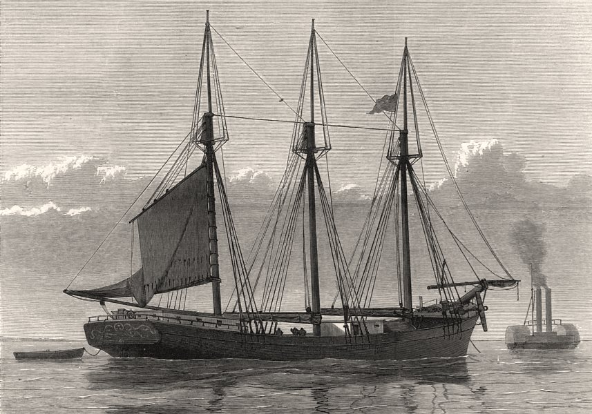 Associate Product The American schooner Jefferson Borden. Mutiny, antique print, 1875