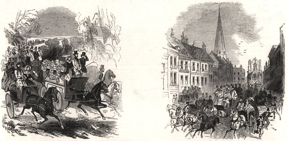Associate Product Goodwood Races: Going to the races. High Street, Chichester. Sussex, print, 1846