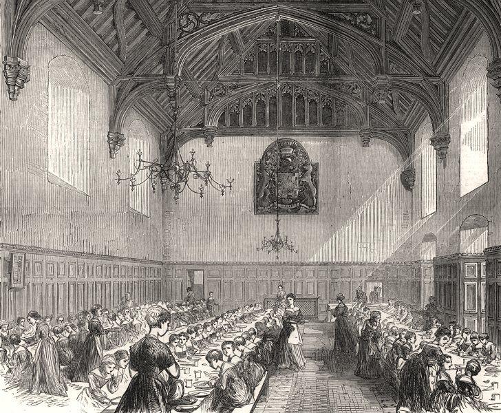 Associate Product The dining-hall, Female Orphan Asylum, Beddington, Surrey. London, print, 1875