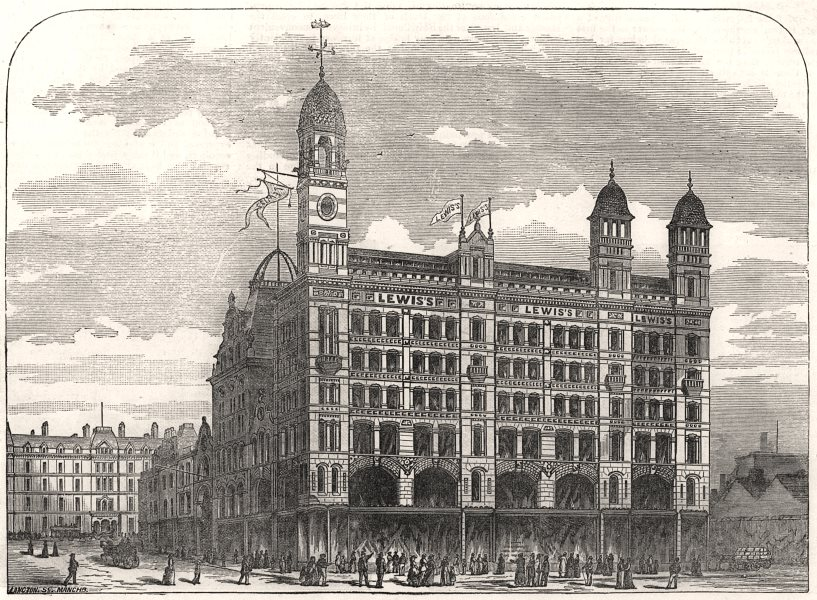 Associate Product Lewis's good house of business in Ranelagh-Street. Liverpool, old print, 1883
