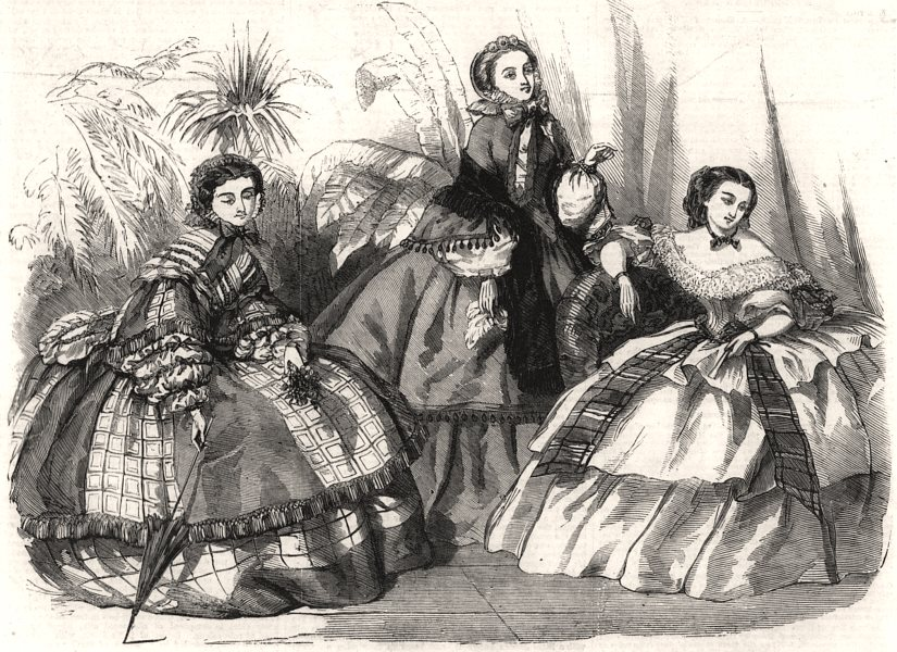 Associate Product Fashions for October, antique print, 1856