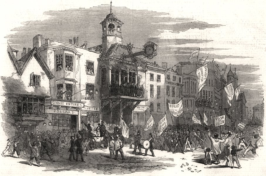 Associate Product The West Surrey election. High Street, Guildford, antique print, 1849