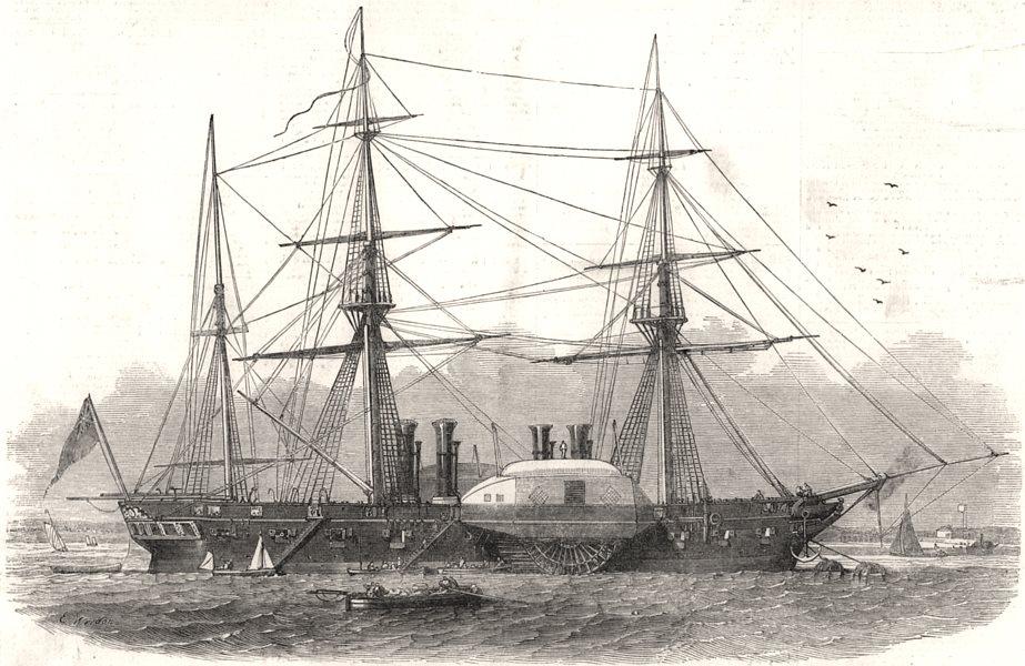 "Associate Product Royal Navy war-steamer "" Terrible "", from Woolwich Dockyard. London, print, 1849"