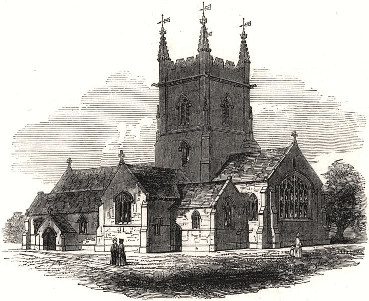 Associate Product New church at Surbiton, Kingston-on-Thames. London, antique print, 1845