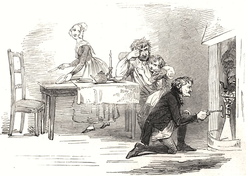 """Scene from """" The Chimes """", at the Adelphi Theatre. London, antique print, 1845"""